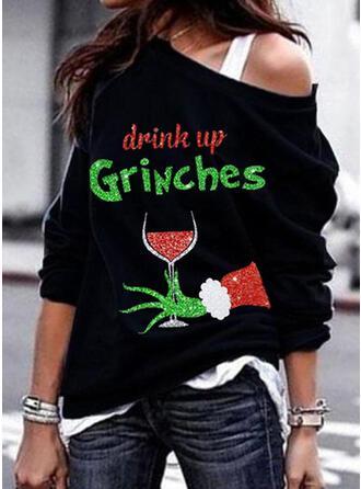 Print Figuur One Shoulder Lange Mouwen Kerst Sweatshirt