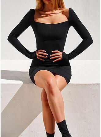Solide Lange Mouwen Bodycon Boven de knie Zwart jurkje/Sexy Jurken
