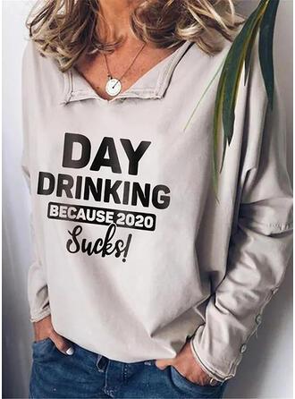 Print Figuur V-hals Lange Mouwen Dichtknopen Casual Overhemd