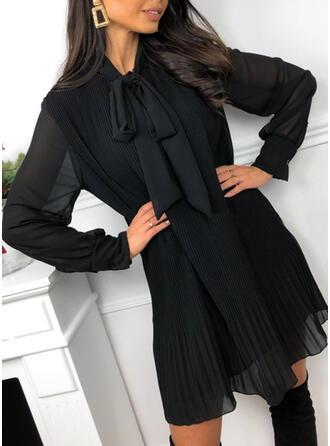 Solide Lange Mouwen Shift Boven de knie Zwart jurkje/Elegant Tunieken Jurken
