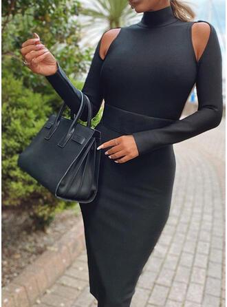 Solide Lange Mouwen/Cold Shoulder Mouw Bodycon Knielengte Zwart jurkje/Sexy Potlood Jurken