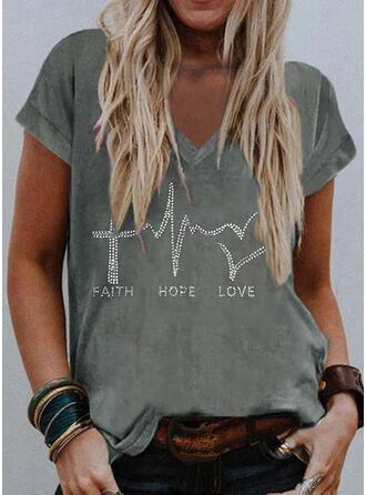 Hart pailletten Letter V-hals Korte Mouwen T-shirts