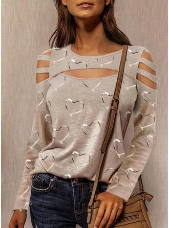 Print Cold Shoulder Lange Mouwen Casual Overhemd
