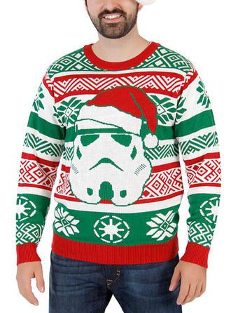 Heren Polyester Print Kerst Sweatshirt