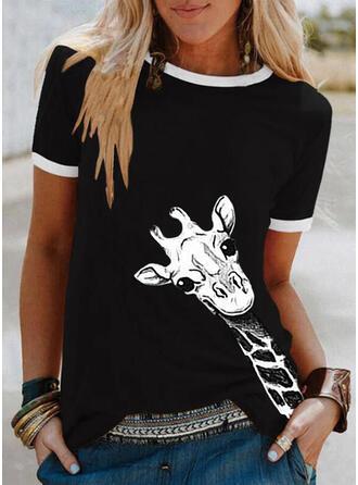 Dier Afdrukken Ronde Hals Korte Mouwen T-shirts