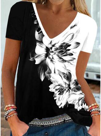 Color Block Bloemen Print Ronde Hals Korte Mouwen T-shirts