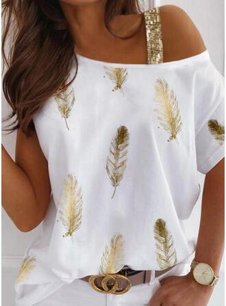 Print Pailletten One-shoulder Korte Mouwen Casual Overhemd