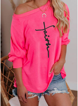 Figuur Print One-shoulder Lange Mouwen T-shirts
