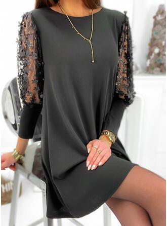 Bloemen/Solide 3/4 Mouwen Shift Boven de knie Zwart jurkje/Elegant Jurken
