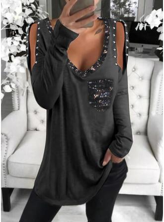 Solide Pailletten Cold Shoulder Lange Mouwen Casual Overhemd