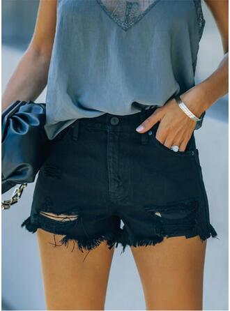 Solide Grote maat Gescheurd Elegant Sexy Shorts Spijkerbroek