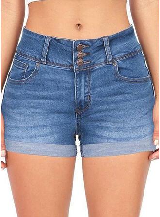 Zakken Shirred Grote maat Boven de knie Sexy Jean Shorts