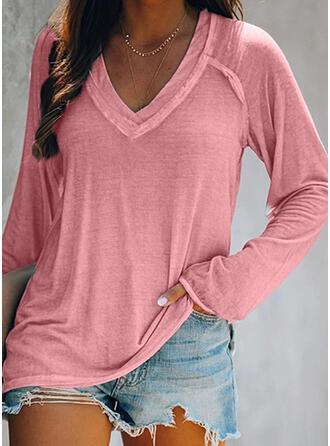 Solide V-hals Lange Mouwen T-shirts