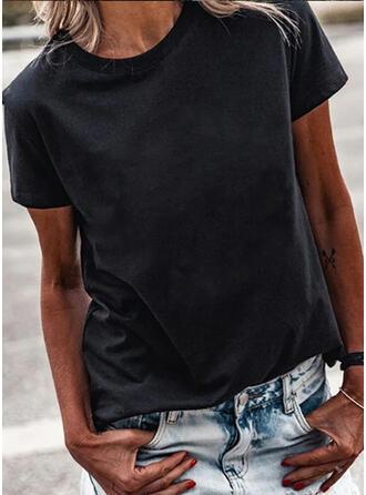 Solide Ronde Hals Korte Mouwen T-shirts