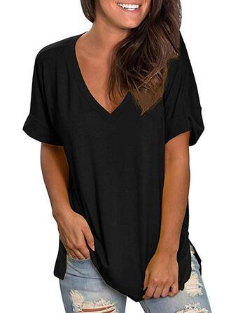 Solide V-hals Korte Mouwen T-shirts