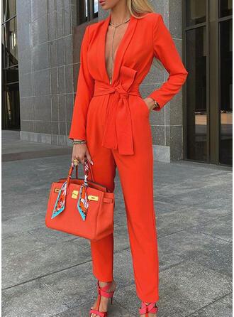 Solide V-hals Lange Mouwen Casual Elegant Jumpsuit