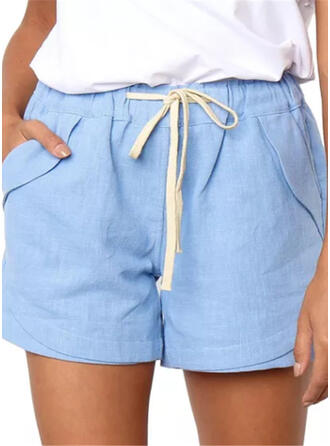 Zakken Shirred Boven de knie Casual Sexy Broodmager Shorts