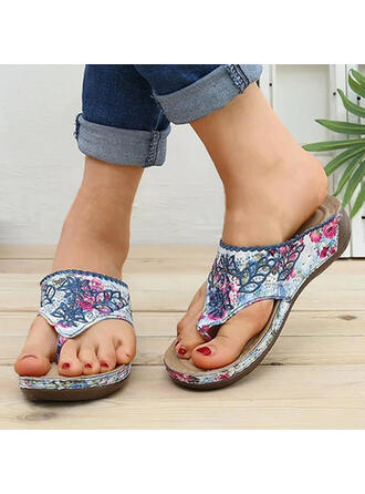 Vrouwen PU Wedge Heel Sandalen Peep Toe Flip Flops Slippers met Hol-out Las kleur schoenen