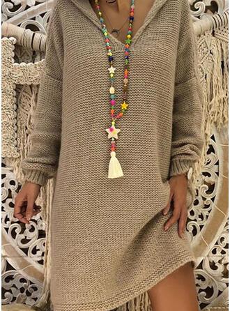 Solide Met capuchon Casual Lang Sweaterjurk