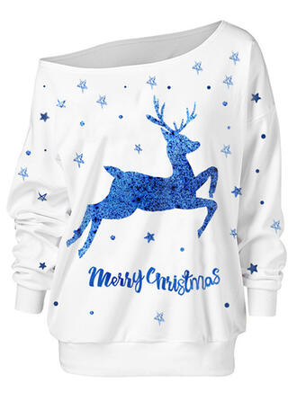Dierenprint Figuur One Shoulder Lange Mouwen Kerst Sweatshirt