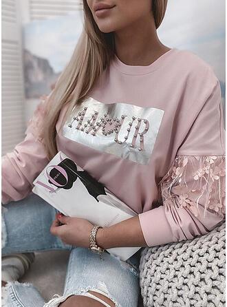 Print Figuur Met Kralen Ronde nek Lange Mouwen Sweatshirts