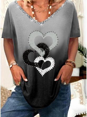 Verloop Hart Print pailletten V-hals Korte Mouwen T-shirts