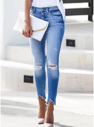 Gescheurd Tassel Lang Elegant Sexy Spijkerbroek