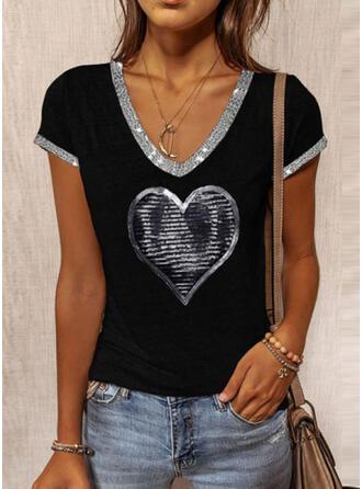 Hart Print pailletten V-hals Korte Mouwen T-shirts
