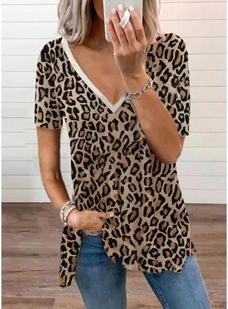 luipaard V-hals Korte Mouwen T-shirts