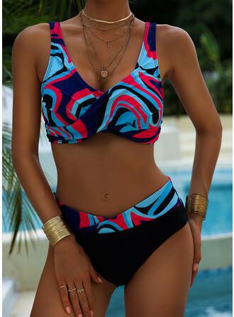 Hoge Taille Print Splice kleur Riem V-hals Sexy Vintage Boho Bikini's Badpakken