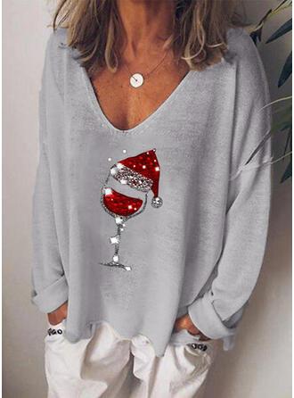 Pailletten V-hals Lange Mouwen Casual Kerstmis T-shirts