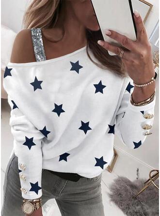 Print Pailletten One Shoulder Lange Mouwen Casual Overhemd