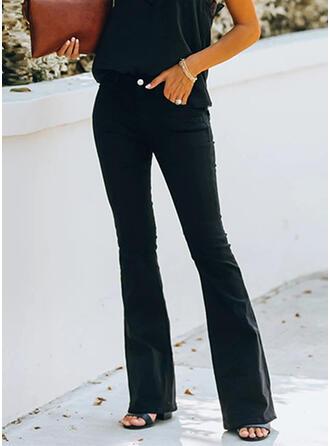 Solide Shirred Lang Elegant Sexy Spijkerbroek