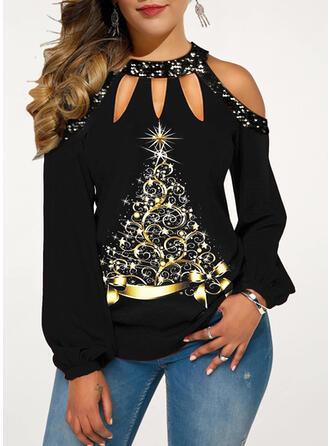 Pailletten Cold Shoulder Lange Mouwen Casual Kerstmis Overhemd