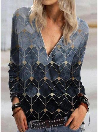 Print Geometrisch V-hals Lange Mouwen Casual Overhemd