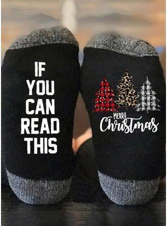 Letter/Kerstmis-/Print Kerstmis/Kwart sokken Sokken