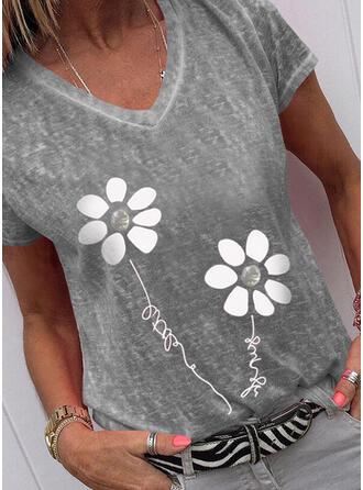 Figuur Bloemen Print V-hals Korte Mouwen T-shirts