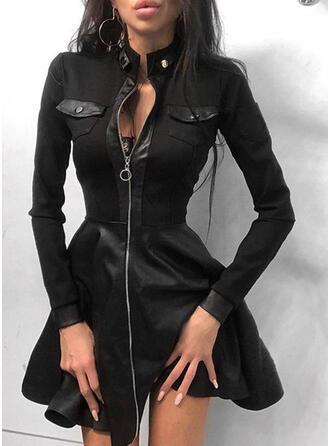 Solide Lange Mouwen A-lijn Boven de knie Zwart jurkje/Casual Schaatser Jurken