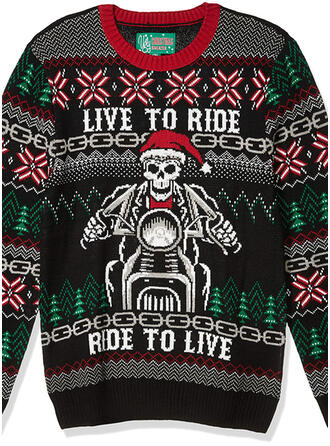 Uniseks Polyester Print Letter Lelijke kerstsweater