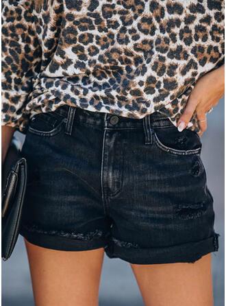 Solide Elegant Sexy Shorts Spijkerbroek