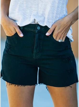 Solide Grote maat Sexy Wijnoogst Shorts Spijkerbroek