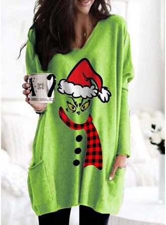 Print rooster Zakken Ronde nek Lange Mouwen Kerst Sweatshirt
