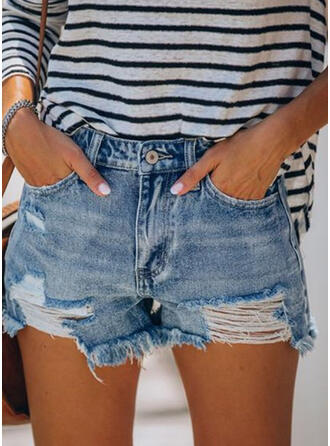 Gescheurd Tassel Casual Sexy Shorts Spijkerbroek