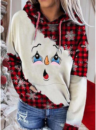 Print Zakken Lange Mouwen Kerst Sweatshirt