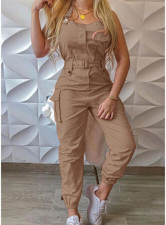 Solide Riem Mouwloos Casual Jumpsuit