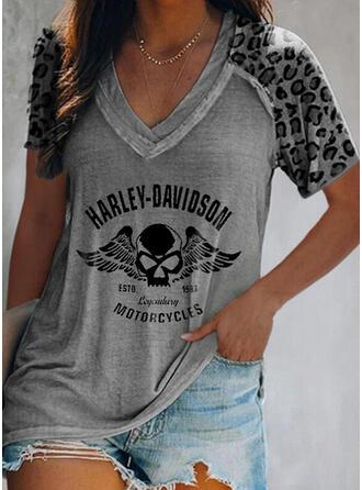 Figuur luipaard Print V-hals Korte Mouwen T-shirts