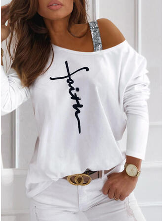 Print Pailletten Figuur One Shoulder Lange Mouwen Casual Overhemd
