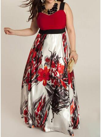 Grote maten Bloemen Print Mouwloos A-lijn-jurk Maximum Casual Jurk