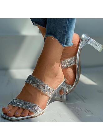Vrouwen PU Chunky Heel Sandalen Peep Toe Slippers Hakken met Strass Hol-out schoenen