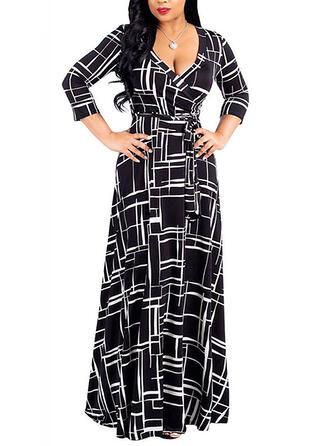 Grote maten Print 3/4 Mouwen A-lijn-jurk Maximum Casual Elegant Jurk